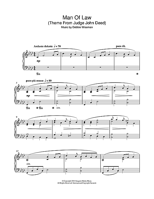 Partition piano Man Of Law (Theme From Judge John Deed) de Debbie Wiseman - Piano Solo
