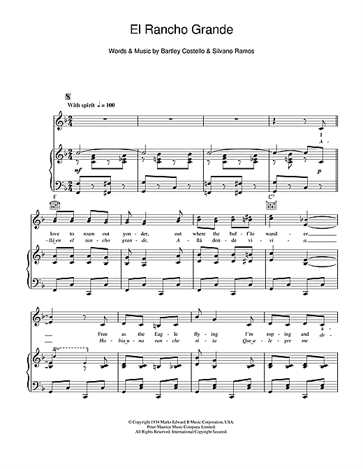 El Rancho Grande Sheet Music
