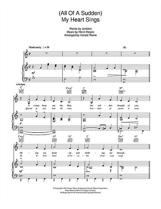 (All Of A Sudden) My Heart Sings Sheet Music