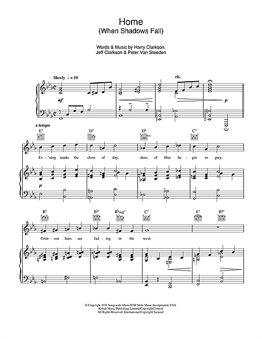Home (When Shadows Fall) Sheet Music