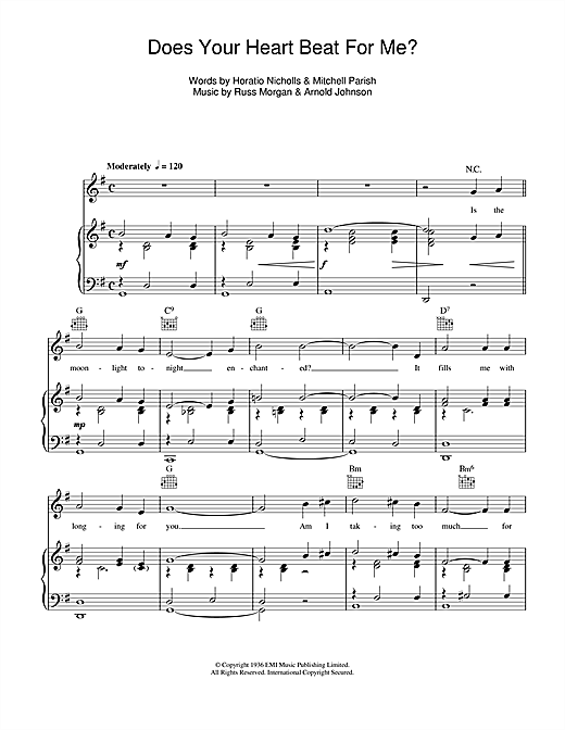 Does Your Heart Beat For Me? Sheet Music
