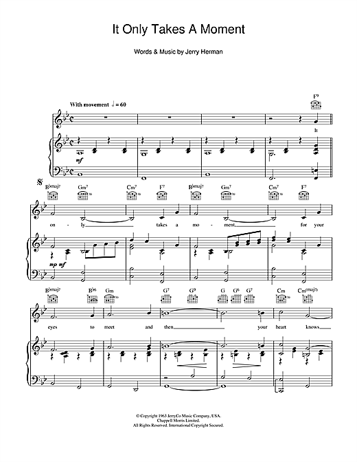 It Only Takes A Moment (from Hello Dolly) Sheet Music