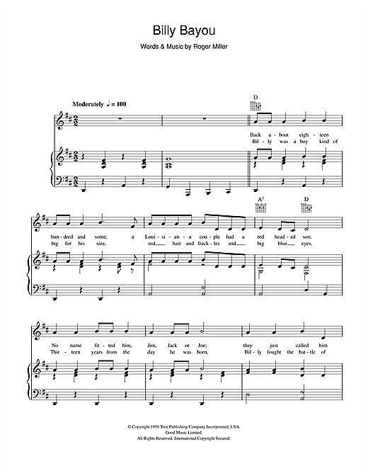 Billy Bayou Sheet Music