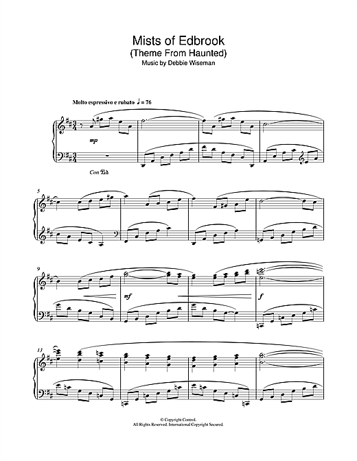 Mists Of Edbrook (Theme From Haunted) Sheet Music