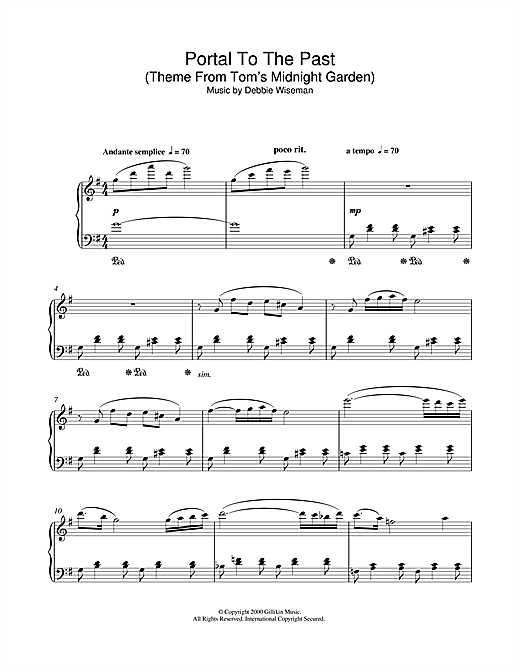 Portal To The Past (Theme From Tom's Midnight Garden) Sheet Music