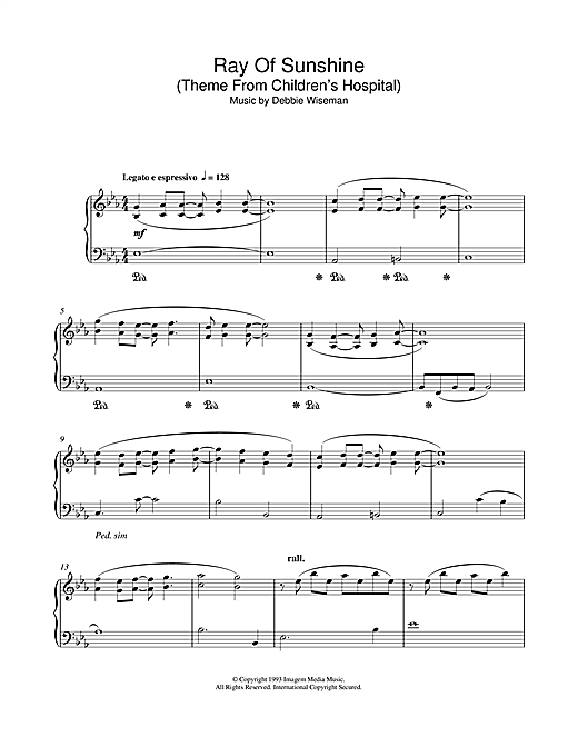 Ray Of Sunshine (Theme From Children's Hospital) Sheet Music