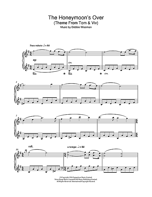 The Honeymoon's Over (Theme From Tom & Viv) Sheet Music