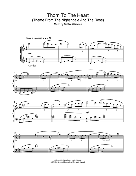 Thorn To The Heart (Theme From The Nightingale And The Rose) Sheet Music