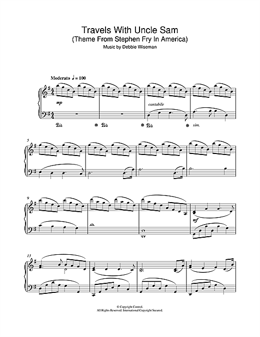 Partition piano Travels With Uncle Sam (Theme From Stephen Fry In America) de Debbie Wiseman - Piano Solo