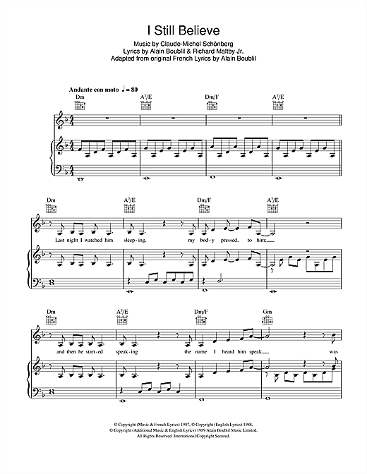 I Still Believe Sheet Music