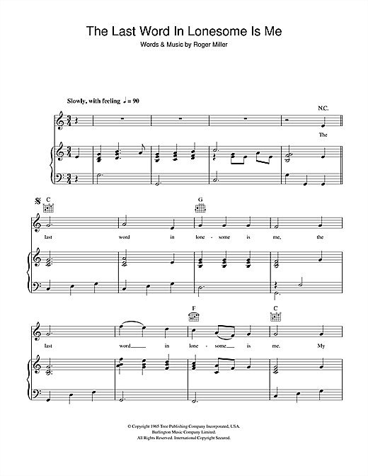 The Last Word In Lonesome Is Me Sheet Music