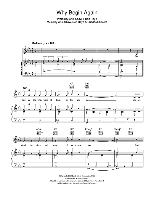 Why Begin Again Sheet Music