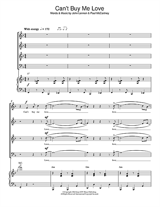 Partition chorale Can't Buy Me Love de The Beatles - SATB