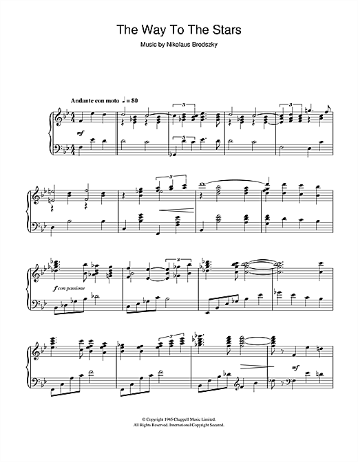The Way To The Stars Sheet Music