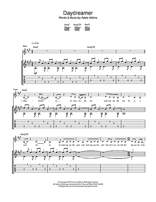Tablature guitare Daydreamer de Adele - Tablature Guitare