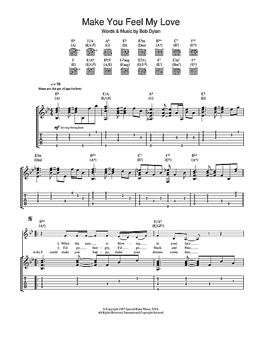 Tablature guitare Make You Feel My Love de Adele - Tablature Guitare