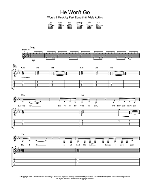 Tablature guitare He Won't Go de Adele - Tablature Guitare