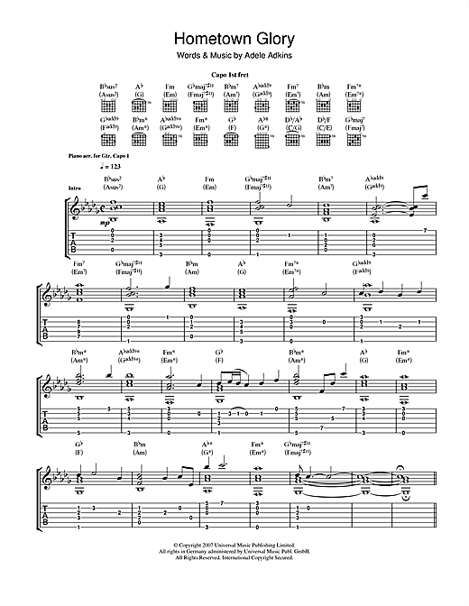 Tablature guitare Hometown Glory de Adele - Tablature Guitare