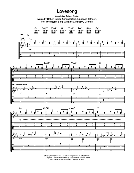 Tablature guitare Lovesong de Adele - Tablature Guitare