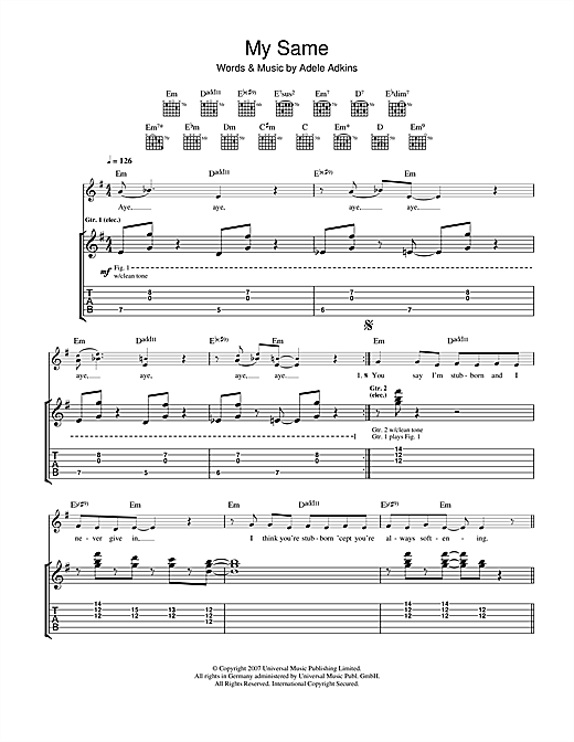 Tablature guitare My Same de Adele - Tablature Guitare