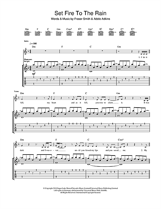 Tablature guitare Set Fire To The Rain de Adele - Tablature Guitare