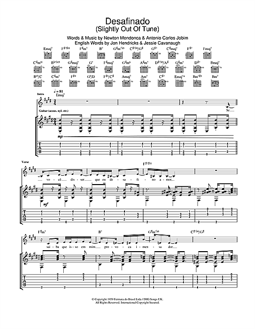 Desafinado (Slightly Out Of Tune) Guitar Tab by Antonio Carlos Jobim ...