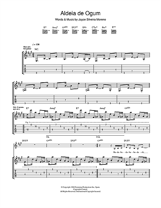 Tablature guitare Aldeia De Ogum de Joyce Silveira Moreno - Tablature Guitare