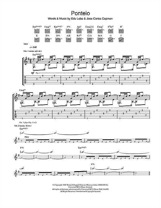 Tablature guitare Ponteio de Edu Lobo - Tablature Guitare