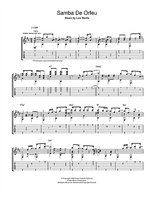 Tablature guitare Samba De Orfeu de Luiz Bonfa - Tablature Guitare
