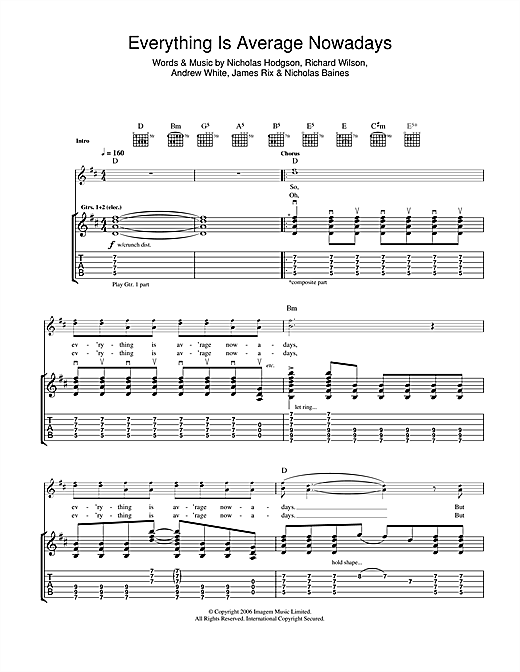 Tablature guitare Everything Is Average Nowadays de Kaiser Chiefs - Tablature Guitare