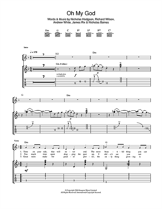 Tablature guitare Oh My God de Kaiser Chiefs - Tablature Guitare