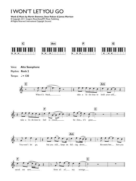Partition piano I Won't Let You Go de James Morrison - Synthétiseur