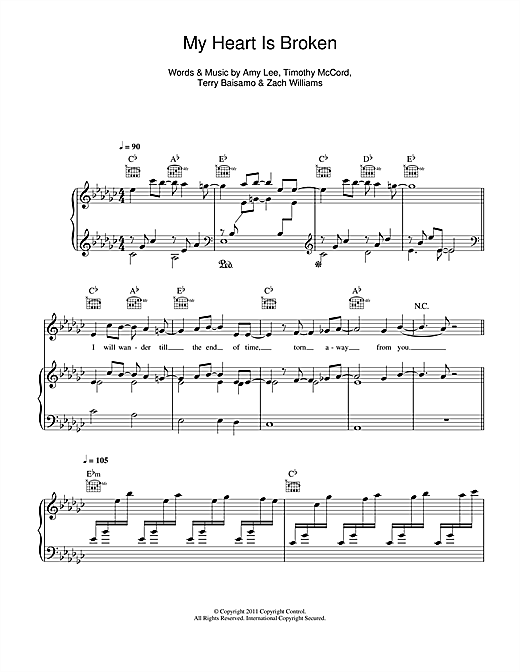 My Heart Is Broken Sheet Music