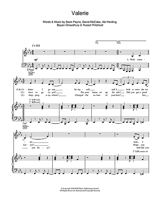 Valerie (feat. Amy Winehouse) Sheet Music