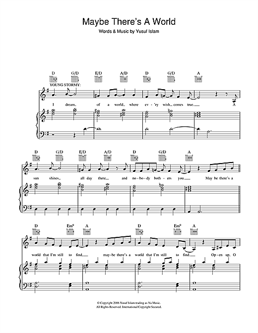 Maybe There's A World (from the musical 'Moonshadow') Sheet Music