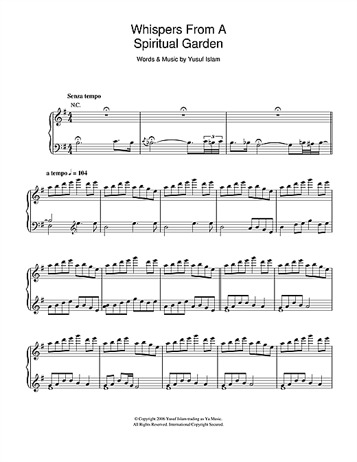 Whispers From A Spiritual Garden (from the musical 'Moonshadow') Sheet Music