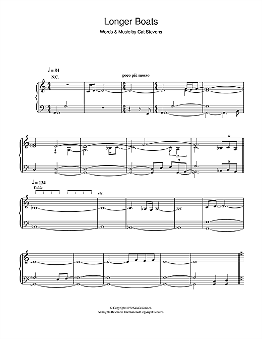 Longer Boats (from the musical 'Moonshadow') Sheet Music