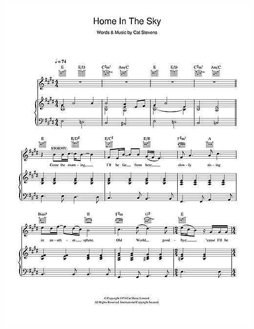 Home In The Sky (from the musical 'Moonshadow') Sheet Music