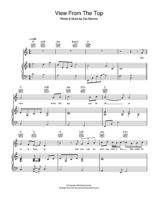 The View From The Top (from the musical 'Moonshadow') Sheet Music
