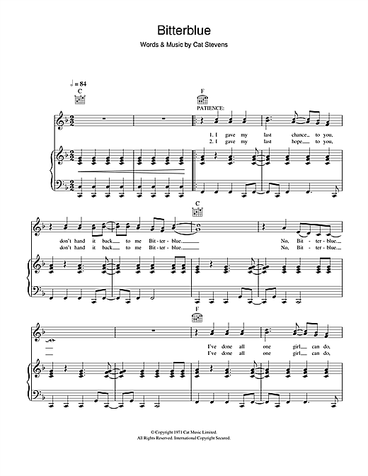 Bitterblue (from the musical 'Moonshadow') Sheet Music