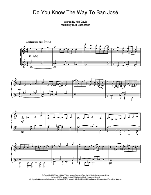 Do You Know The Way To San José Sheet Music