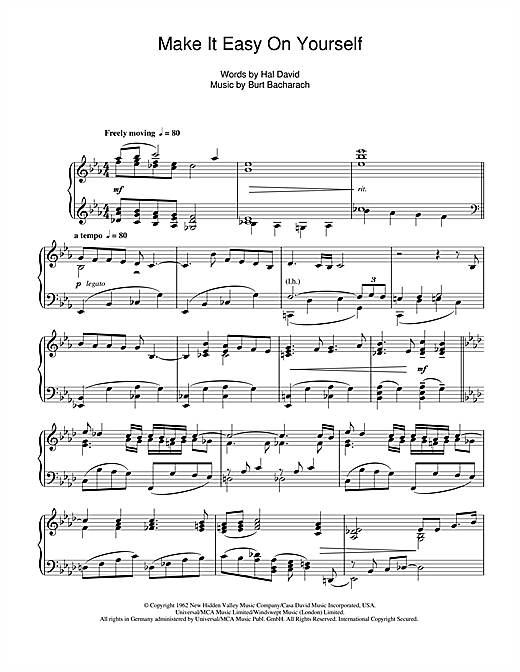 Partition piano Make It Easy On Yourself de Burt Bacharach - Piano Solo