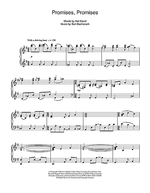 Partition piano Promises Promises de Burt Bacharach - Piano Solo