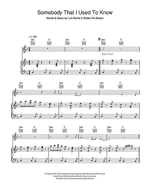 Somebody That I Used To Know Sheet Music