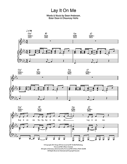 Lay It On Me Sheet Music
