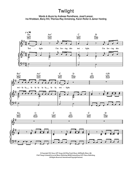 Piano u00bb Vanilla Twilight Piano Chords - Music Sheets, Tablature, Chords and Lyrics