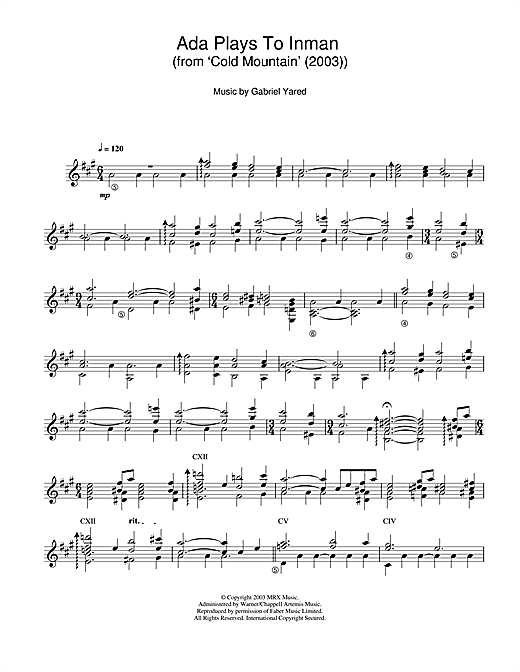 Ada Plays To Inman (from Cold Mountain) Sheet Music