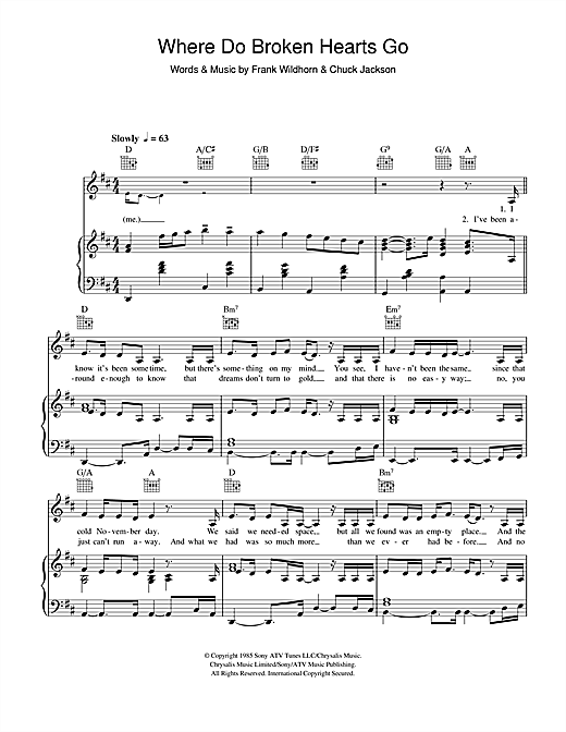 Where Do Broken Hearts Go Sheet Music