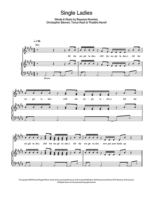 Single Ladies Sheet Music
