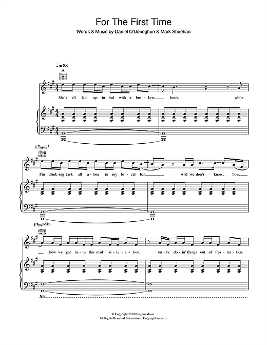 Partition piano For The First Time de The Script - Piano Voix Guitare